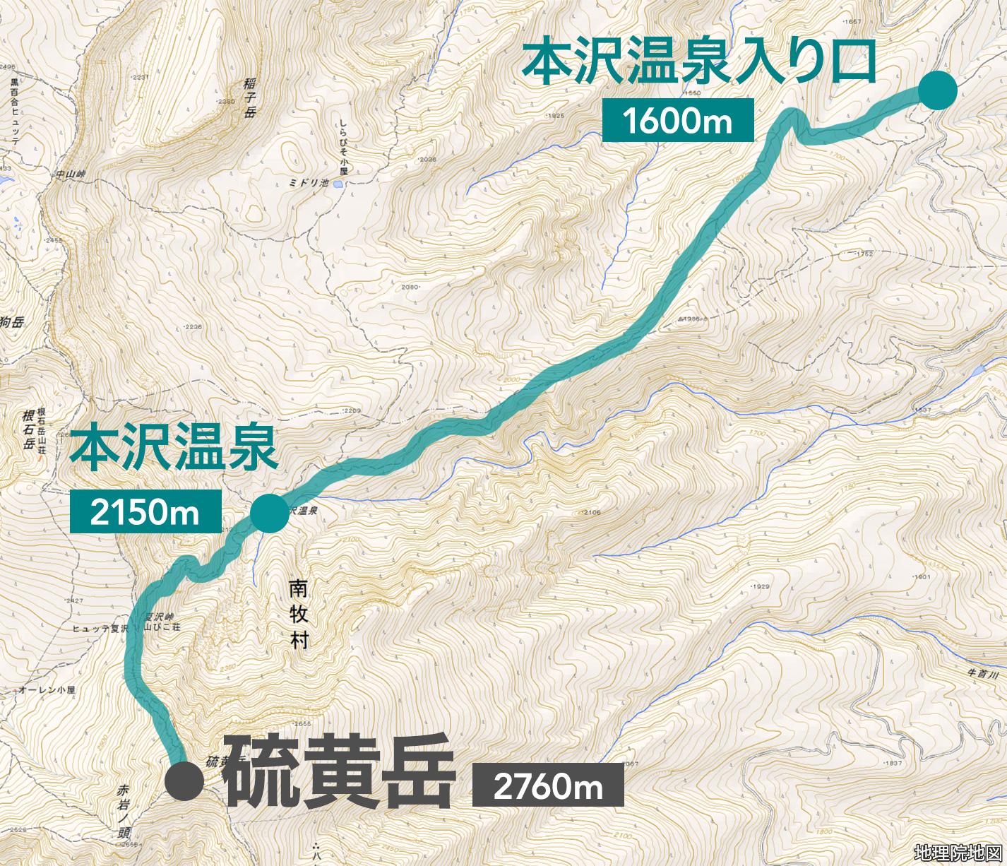 八ヶ岳 硫黄岳 地図