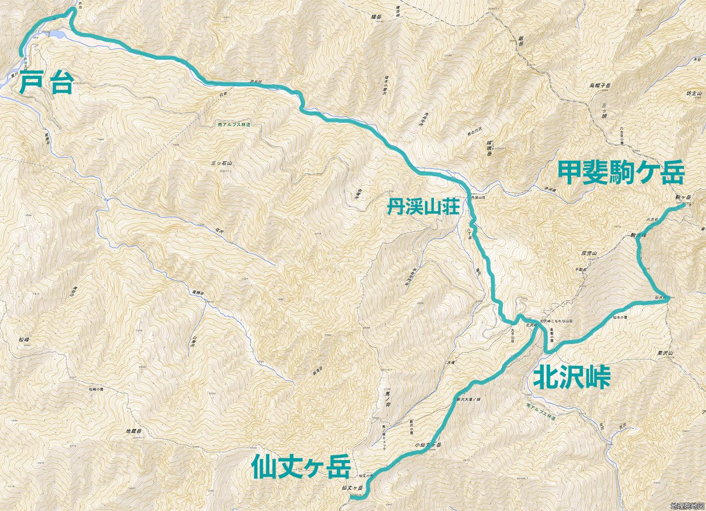 雪山登山 仙丈ヶ岳 甲斐駒ケ岳 地図
