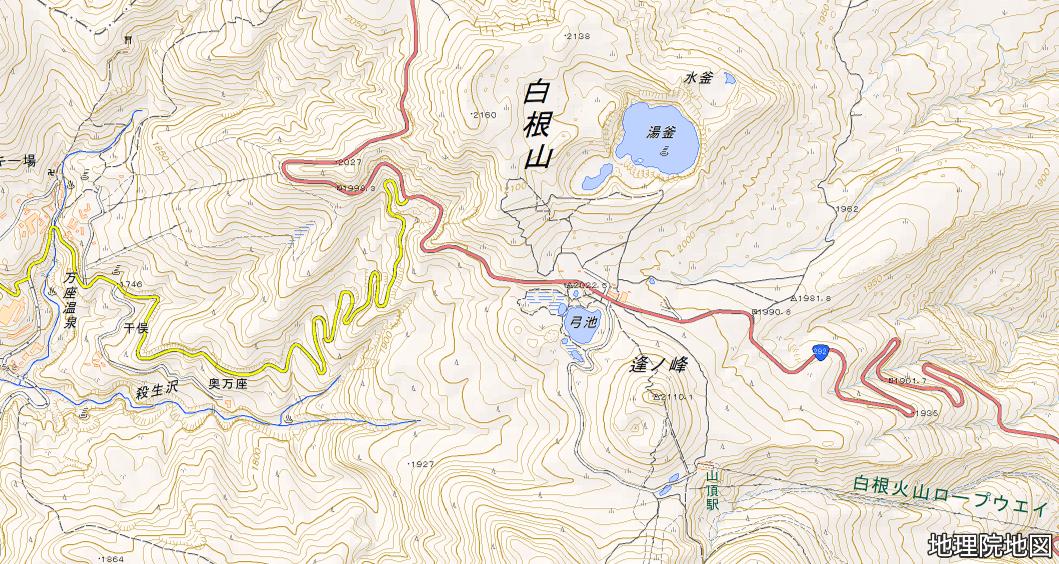 草津白根山 地図