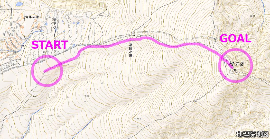 根子岳 地形図