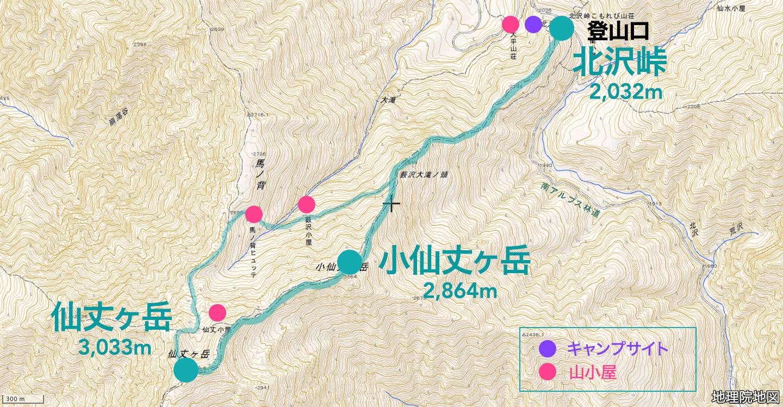 仙丈ヶ岳 ルート図