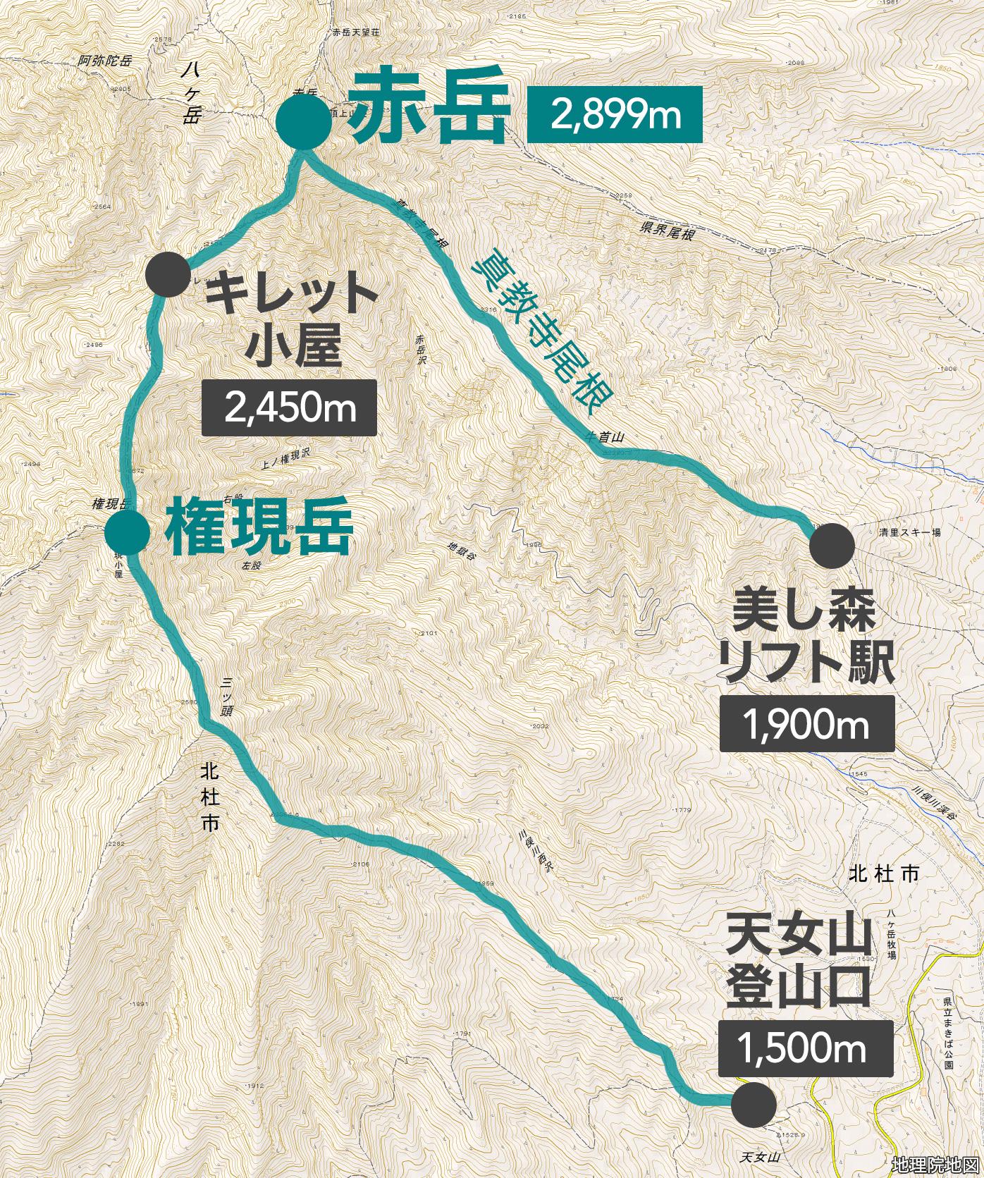 八ヶ岳 赤岳キレット 地図