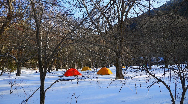 上高地 3月 テント泊
