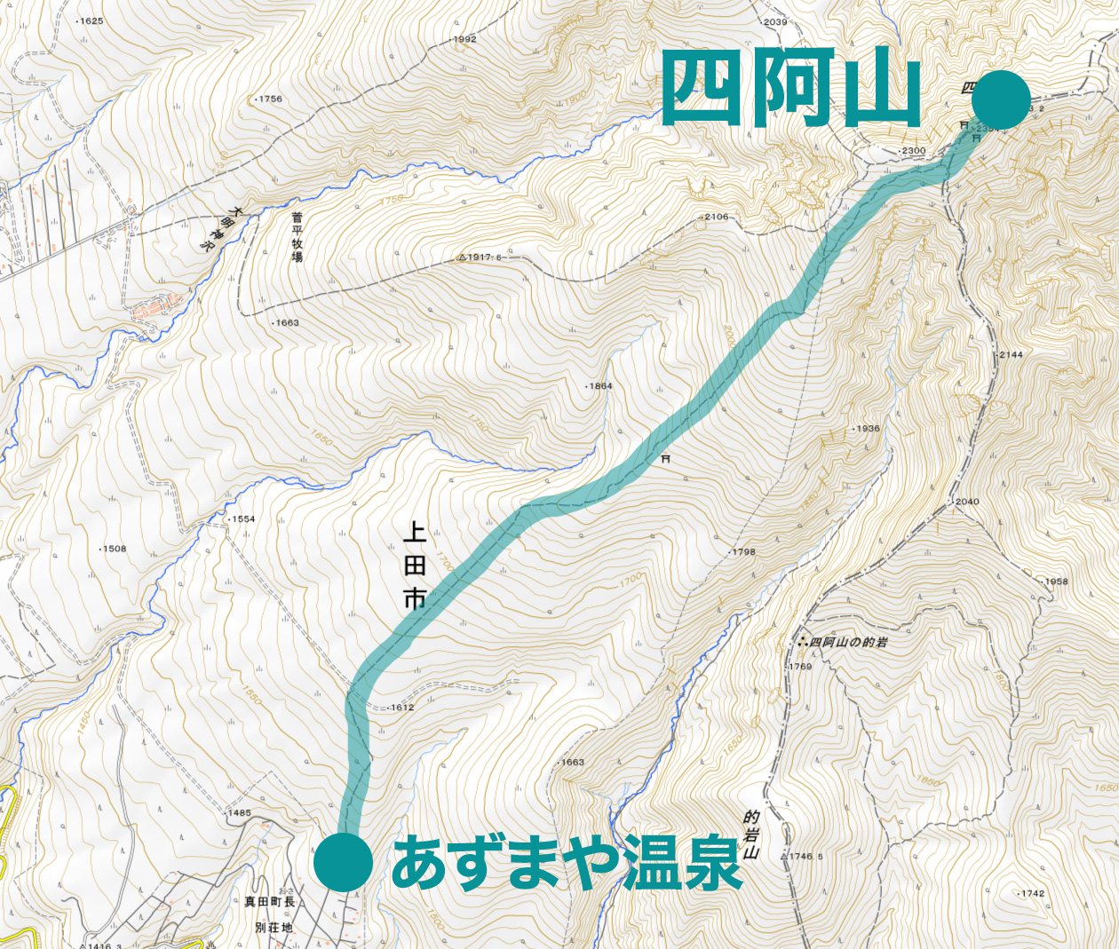四阿山 山スキー ルート図