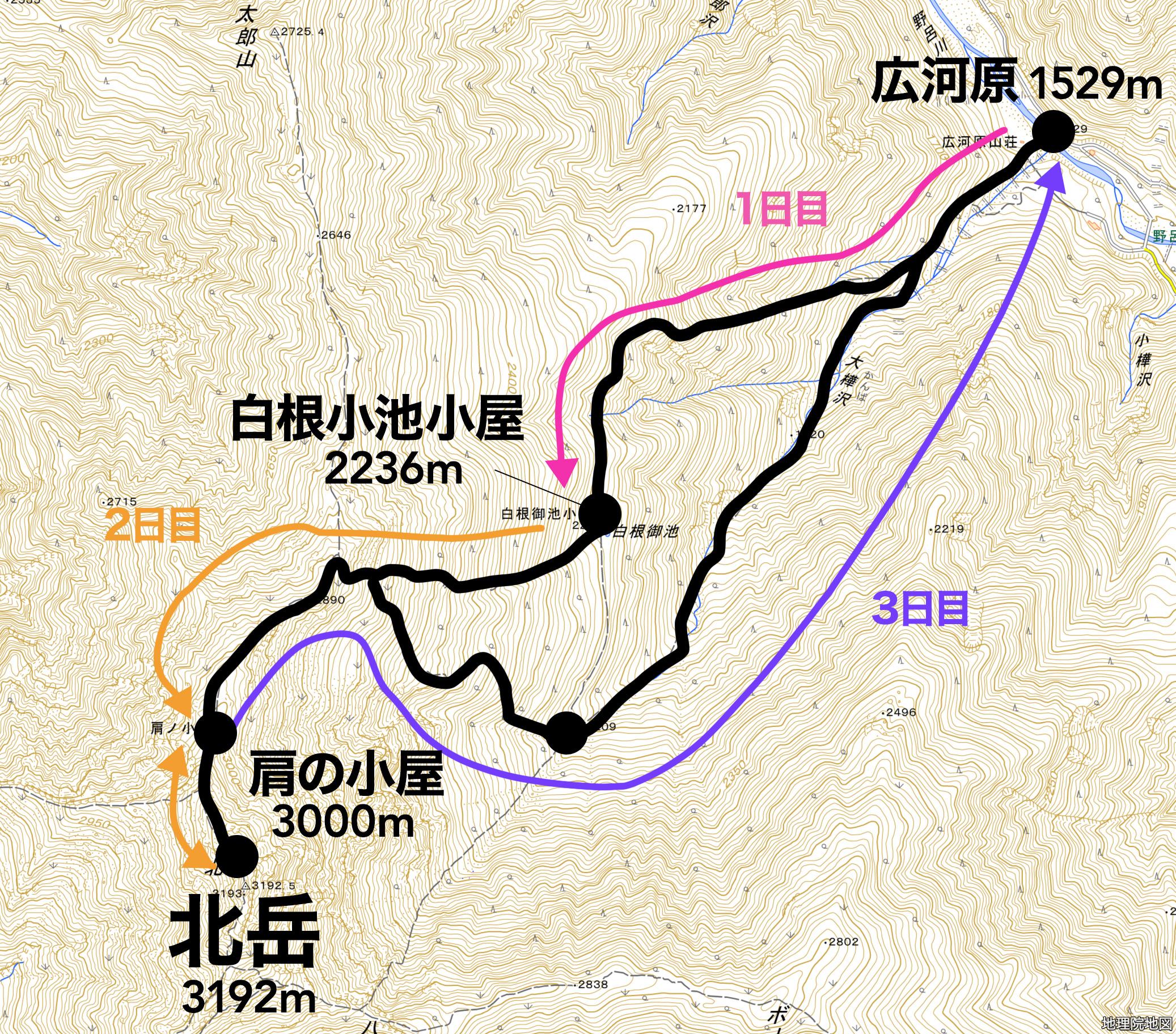 北岳 登山 地図